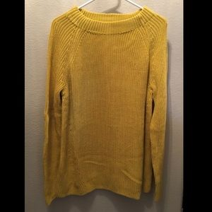 Lands End Golden Yellow Thick Woven Sweater
